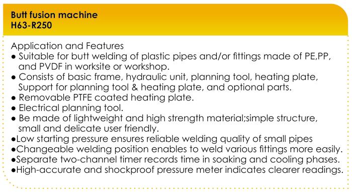 مشخصات دستگاه جوش پلی اتیلن تمام هیدرولیک 250