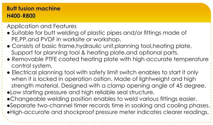 مشخصات دستگاه جوش پلی اتیلن تمام هیدرولیک 800