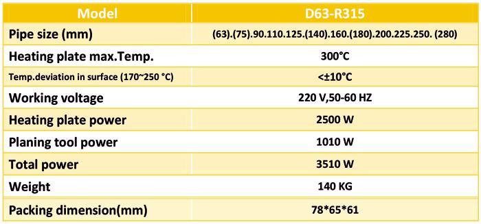 مشخصات دستگاه جوش پلی اتیلن دستی 315