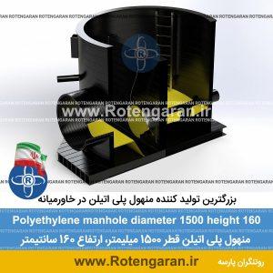 منهول پلی اتیلن قطر 1500 ارتفاع 160 سانتیمتر